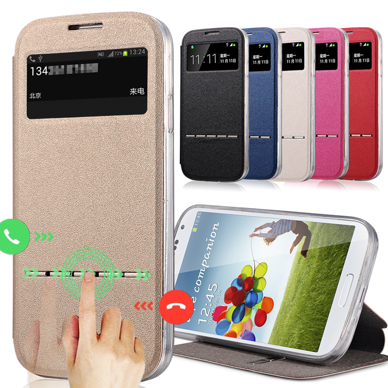 new style 21532 e7f21 US $4.04 5% OFF|Luxury Style PU+TPU Leather Case for Samsung Galaxy S4 Mini  i9190 Phone Bag Flip Cover Case With Stand View Window-in Flip Cases from  ...
