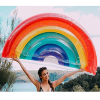 Inflatable Rainbow Giant Colorful Mattress Swimming Pool Float Circle Beach Bed Sunbathe Mat Swim Ring Water Party Toy Adults