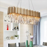 Modern Oval Crystal Chandelier Lighting Fixture Luxury Contemporary Chandeliers Pendant Hanging Light for Home Restaurant Decor