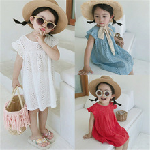 Girls Lace Princess Dress 2019 Summer New Children Fly Sleeveless Solid Color Dresses for 3 - 8 Years Cotton A-line Casual Dress