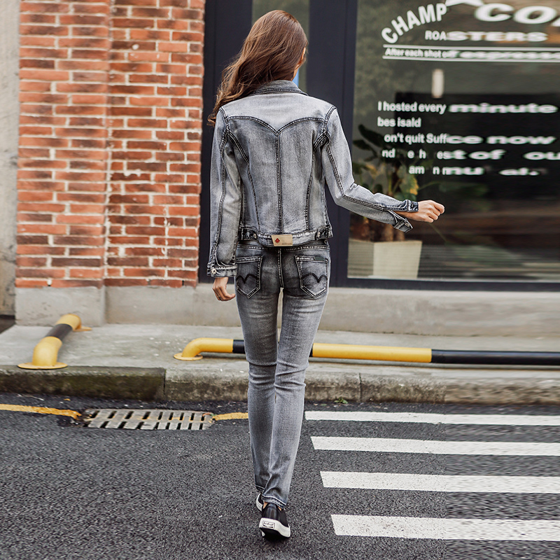 Color Onda Otoño Damas De Dos Kulazopper Estudiante Qw535 Nuevo Pantalones Chaqueta Slim Elástico 2017 La Picture Conjuntos Denim Gran Mujer PHw5q0xS5