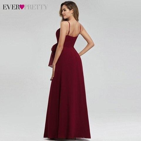 Ever Pretty Elegant Burgundy Bridesmaid Dresses Long A-Line V-Neck Spaghetti Straps Long Wedding Guest Dresses Vestido Madrinha Lahore