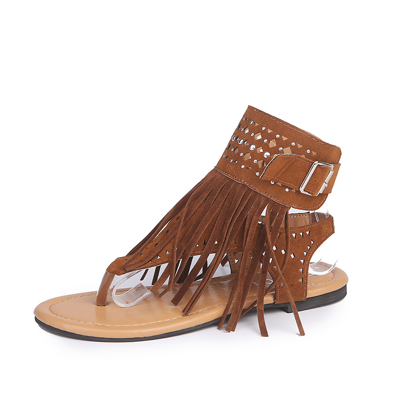 Summer New Fashion Bohemian Women Flats Sandals Gladiator Fringe Peep Toe Casual Flats Shoes Woman Flip Flop Shoes Roman Sandals bohemian rhinestones and flip flop design sandals for women