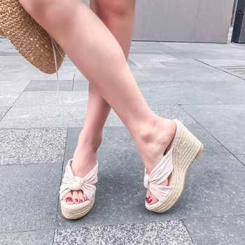 ZVQ shoes woman 2019 summer new fashion super high wedges platform flock woman slippers outside open toe ladies shoes size 34-39