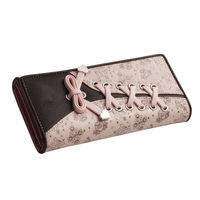 PU Leather Long Coin 3 Fold Flowers Printing Purse Tied Fashion Envelope Women Lady Leather Bifold