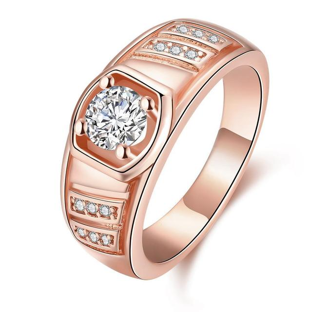 New Yellow Gold Rose Gold White Gold Color Men Ring Geometric