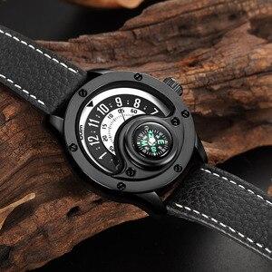 Image 5 - Creative מצפן גברים שעון קוורץ שעונים ספורט פטיפון חיוג שעוני יד מקרית רצועת עור צבאי שחור איש שעון Reloj