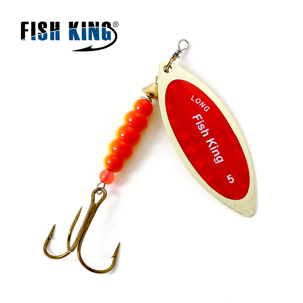 FISH KING Willow shaped Spinner Bait 1PC 4 Color Size1-Size5 Fishing Lure Mepps Bass Hard Baits Spoon With Treble Hook Tackle fish king 1 pc 24g fishing lure spoon lure noise sequin paillette carp hard fishing baits with 4 mustad treble hook lure