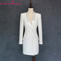 Women Spring Autumn Fashion Double Breasted Long Casual Work Office Blazer High Quality Korean Style Outwear