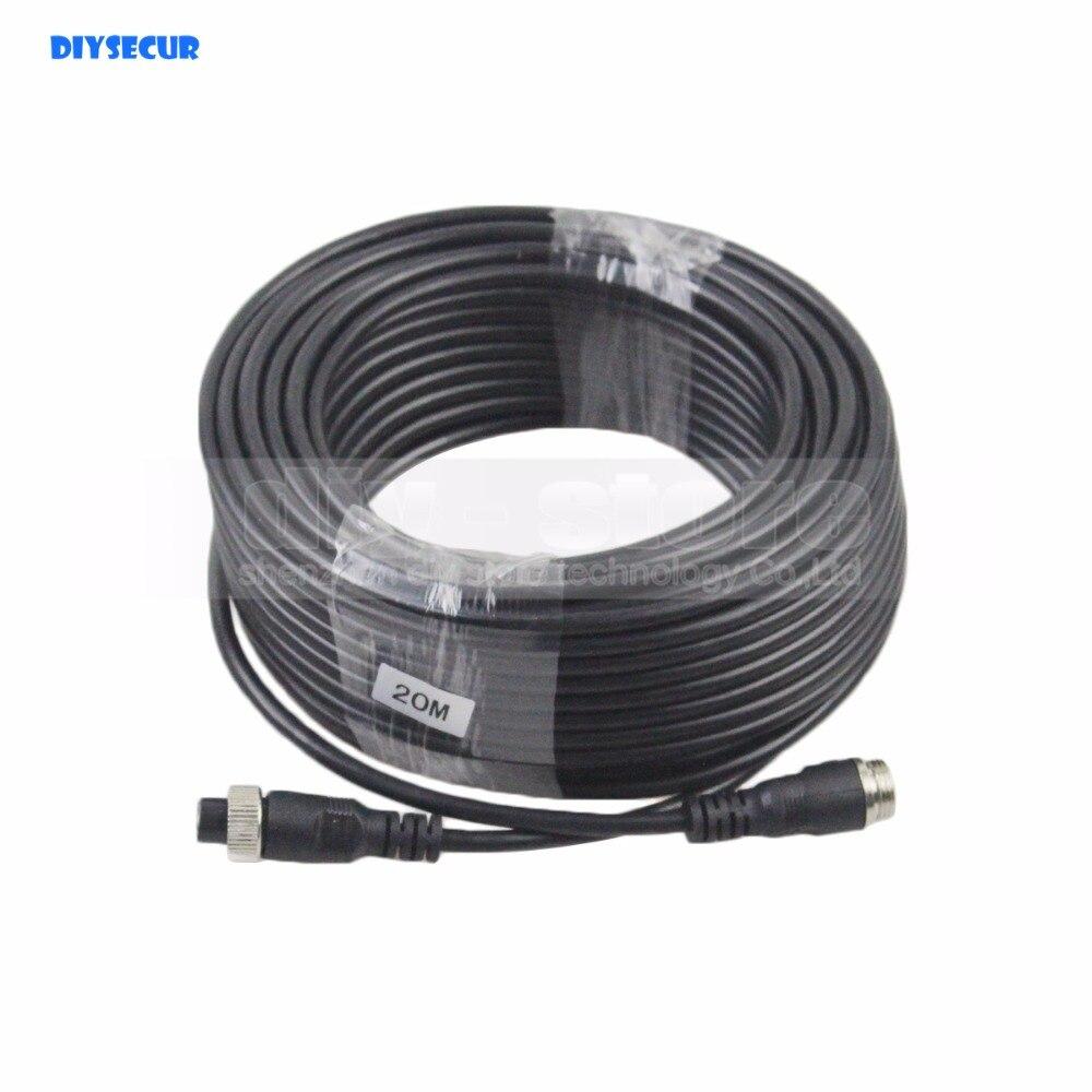 DIYSECUR 20 Mètres 66 Pieds broches Étanche Connecteurs D'extension Cordon Vidéo/Signal Câble D'alimentation pour Caméra Moniteur de Recul