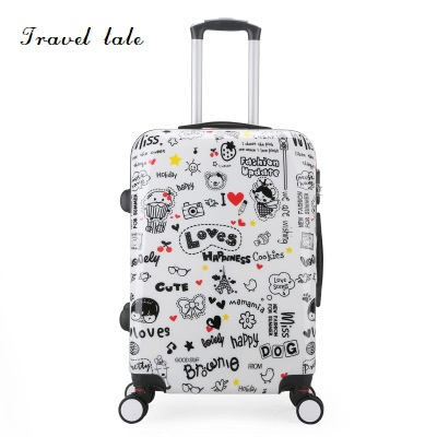 Travel tale personality cartoon pattern 20 24 Inch Rolling Luggage Spinner brand Travel Suitcase Suitable for