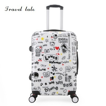 3d4edc82da9d Путешествия сказка личность мультфильм шаблон 20/24 дюймов Rolling Спиннер  для багажа бренд Дорожный чемодан подходит для детей чемодан