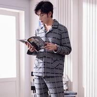 J&Q new arrival male pajamas thicken air cotton long sleeves pants pajamas for men plus bottom nightwear suit men sleepwear