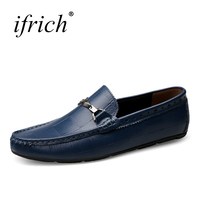 Ifrich New Comfortable Men Shoes Genuine Leather Driving Footwear Slip On Mens Loafers Size 38 45 Leather Mens Casual Shoes