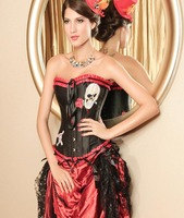 Gothic Black & Red Satin Skull Halloween Corset