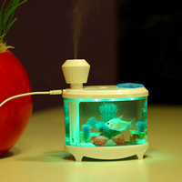 Cute Home Car USB Air Purifier Ultrasonic Humidifier Mini Fish Tank Acquario Atomization Machine Mist Maker