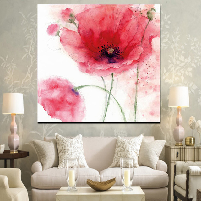 HD Print Modern Red Poppies Abstract Oil Painting on Canvas Modern ...