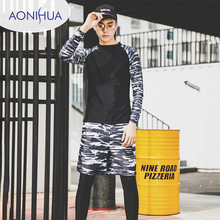 Aonihua Two Piece Sport Swimsuit Long Sleeve Top Mens Swimming Trunks For Shorts With Pocket M-3XL