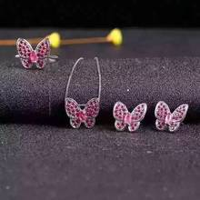 Natural red ruby gem jewelry sets natural gemstone ring Pendant Earrings 925 silver Elegant  lovely heart butterfly fine jewelry