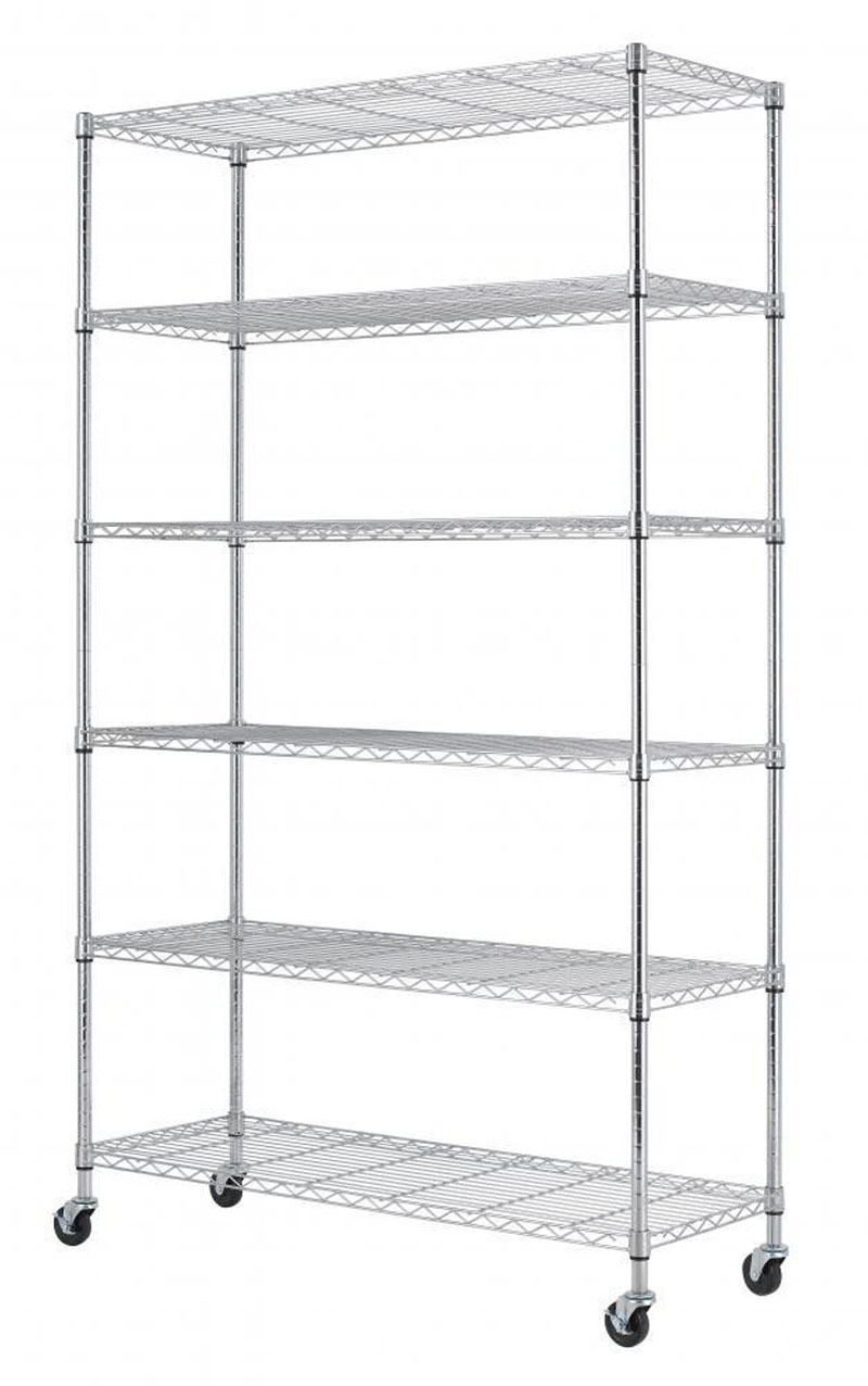 Chrome Metal Wardrobe 6 Layers Rolling Wheels Storage Rack 48x18x72