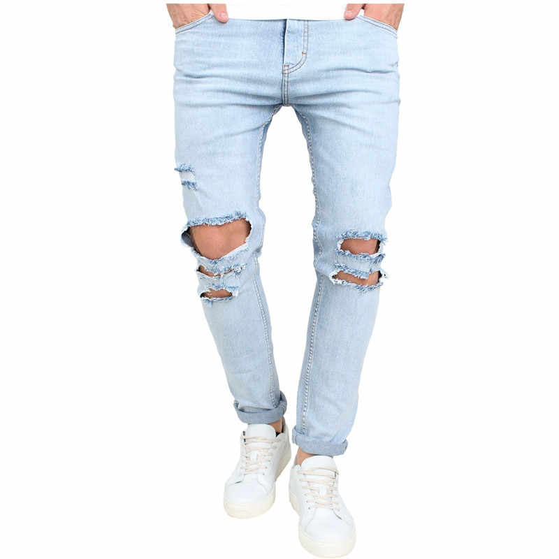 b746a82c42a 2017 Summer New High Street Fashion Men Jeans Light Blue Color Denim Ripped  Jeans Men Skinny