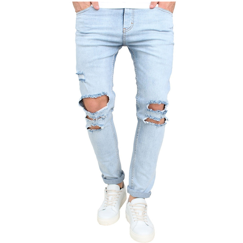 2017 summer new high street fashion men jeans light blue
