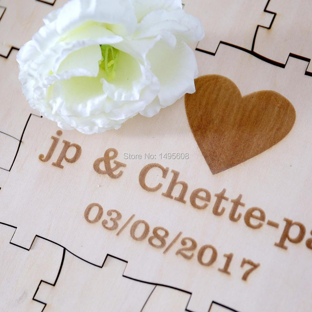 Personalized initials date rustic puzzle wedding guest books Alternative Wooden guestbooks Reception party favors decorations-in Signature Guest Books ...