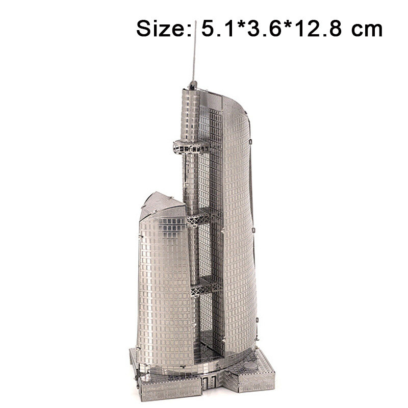 3D Metal Puzzles Kits Stainless Steel Model DIY Moscow Federation Skyscraper Building Architecture Educational Toys for Children ...