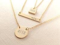 custom 925 silver Monogram Necklace Modern name Initials Handmade and Stamped Bridesmaid Christmas wedding Birthday gift