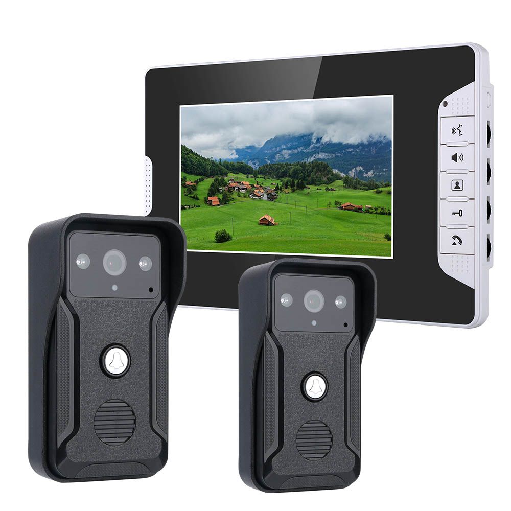 7 Inch Video Door Phone Doorbell Intercom Kit 2-camera 1-monitor Night Vision With 700TVL Camera