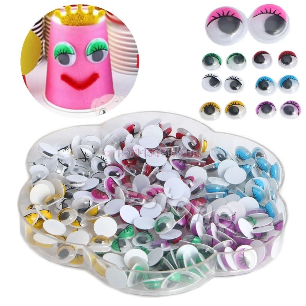 10mm Mix Couleur Cils Wiggly Wigly Googly Eyes Scrapbooking Artisanat # H055 #