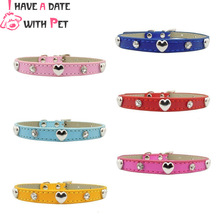 Personalized Cat Collar Rhinestone Love Decoration For Small Kitten Dog Puppy Pink Red Blue Rose Yellow Necklace