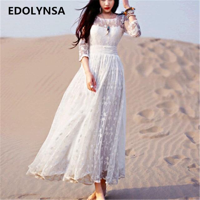 maxi jurk wit kant