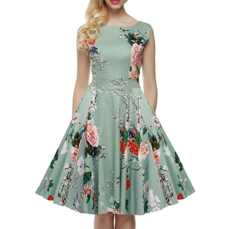 2017new plus taille vêtements femmes d'été floral dress audrey hepburn style rétro dress vestidos 1960 s pays rock et roll dress