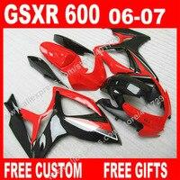 Free custom Fairings for glaring new red black 2006 2007 bodywork SUZUKI GSXR 600 750 K6 BACARDI GSXR600 GSXR750 set 7 gift KN95