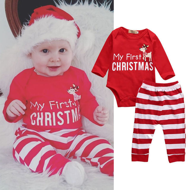 4c8691a2c9be Newborn Baby Clothes Christmas Elk Print Rompers+Red White Striped ...