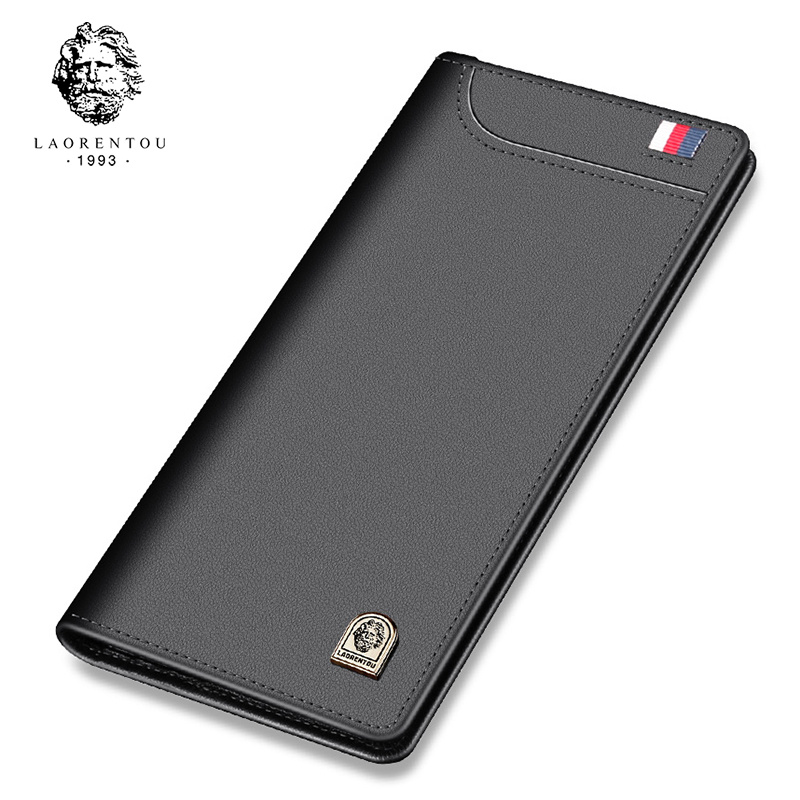 LAORENTOU Men Wallets Cow Leather Purse Long Wallet Business Man Clutch Bag Large Capacity Bank Credit Card ID Card Holder feidikabolo brand zipper men wallets with phone bag pu leather clutch wallet large capacity casual long business men s wallets
