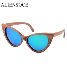 New Polarized Gold Wooden Sunglasses Cat Eye Bamboo Women Sunglasses Polarized Brand Mirror Gold Wooden Sunglasses