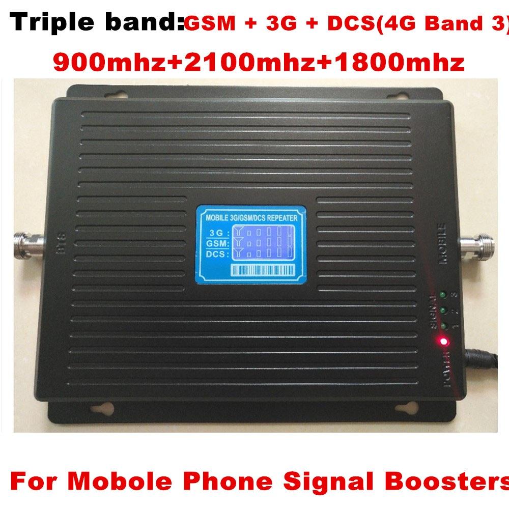 Amplificateur de TriBand d'affichage à cristaux liquides 2g GSM 900 4g DCS 1800 MHZ 3G 2100 MHZ amplificateur de Signal de téléphone portable répéteur de téléphone portable