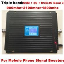 ЖК-дисплей трехдиапазонный усилитель 2 г GSM 900 4 г DCS 1800 МГц 3g 2100 МГц сотовый телефон мобильный телефон усилитель сигнала Сотовый телефон повторитель