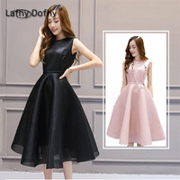 pink and black color o neck annual dinner show bride pure color party dress 2018 women new style simple sweet robe big size 207