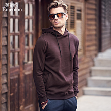 Enjeolon brand Long Sleeve Sweatshirt Men hoodies Black casual cotton Sweatshirt Men Solid Pullover Clothing plus size 3XL WY104(China)