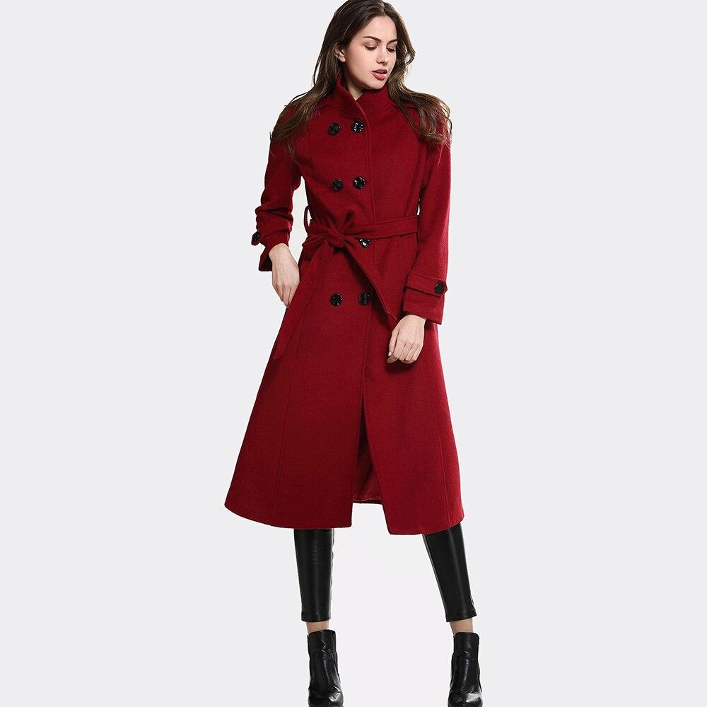 Grand Libre Vogue Col Fourrure Hiver De Ceinture Manteau Avec En Escalier Nouveau Noire Expédition Chaud Survêtement Design Femmes Laine EHI29WD