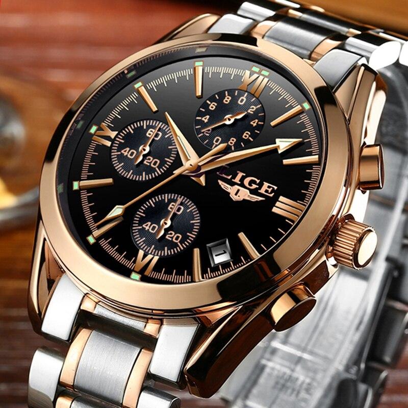 Watch men Brand Luxury Fashion Quartz Sport Watches Men Full Steel Military Clock Waterproof Gold men 39 s Watch Relogio Masculino in Quartz Watches from Watches