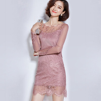 New Fashion Women Lace Leaf Spring Summer Long Sleeve Solid Color Slim One Piece Dress Female