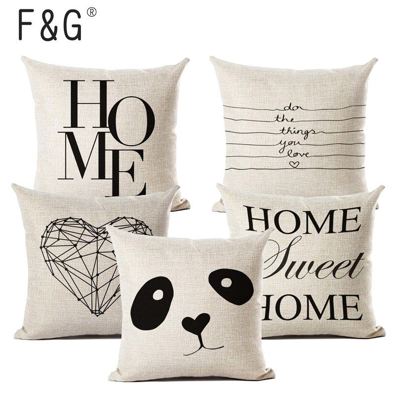 Letter Love Home Cushion Covers Linen Black White Pillow Cover Sofa Bed Nordic Decorative Pillow Case 45x45cm