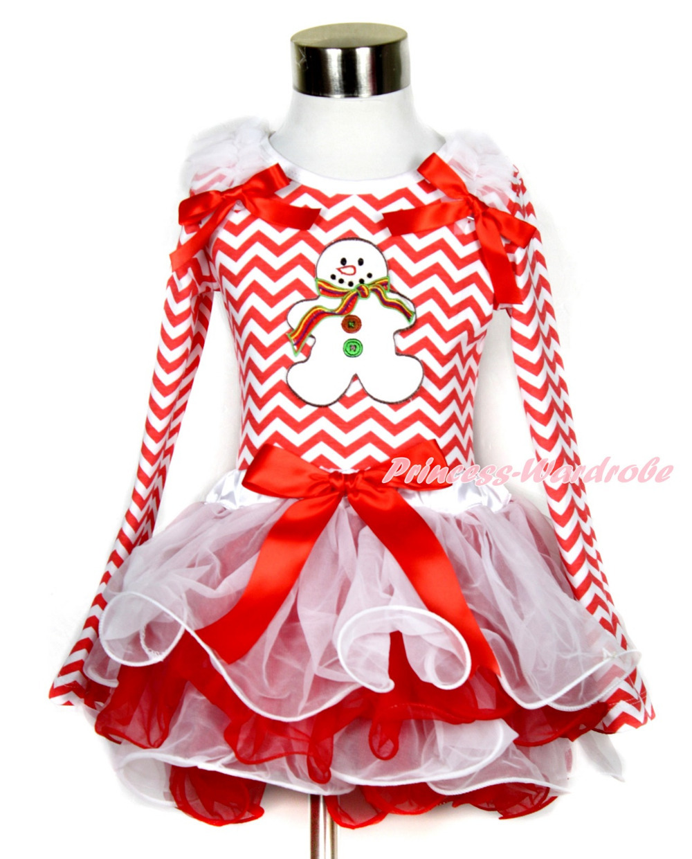 Xmas Red Bow White Red Petal Pettiskirt Red White Wave Long Sleeve Top with White Ruffles Christmas Gingerbread Snowman MAMW332