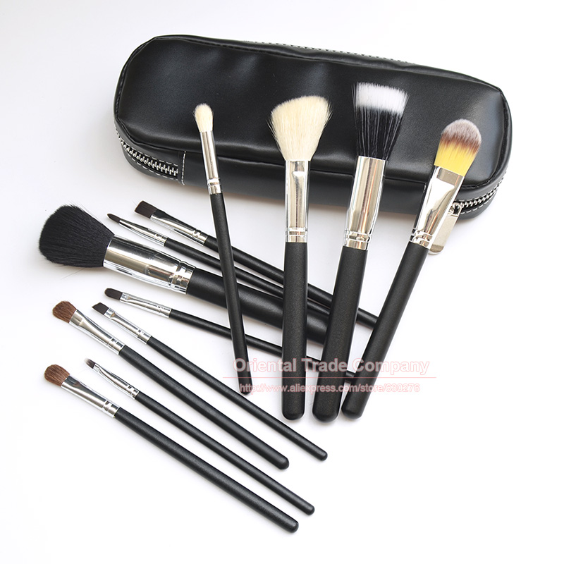 цена на New Brand Makeup Brushes 12Pcs Natural Hair Cosmetics Set with PU Leather Bag Wooden Handle High Quality Make Up Brush Set