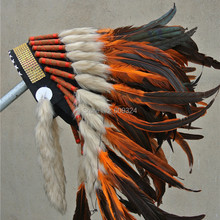 21 дюйм высокое orange перо головной убор ручной работы, костюм с перьями на Хэллоуин шляпа костюмы