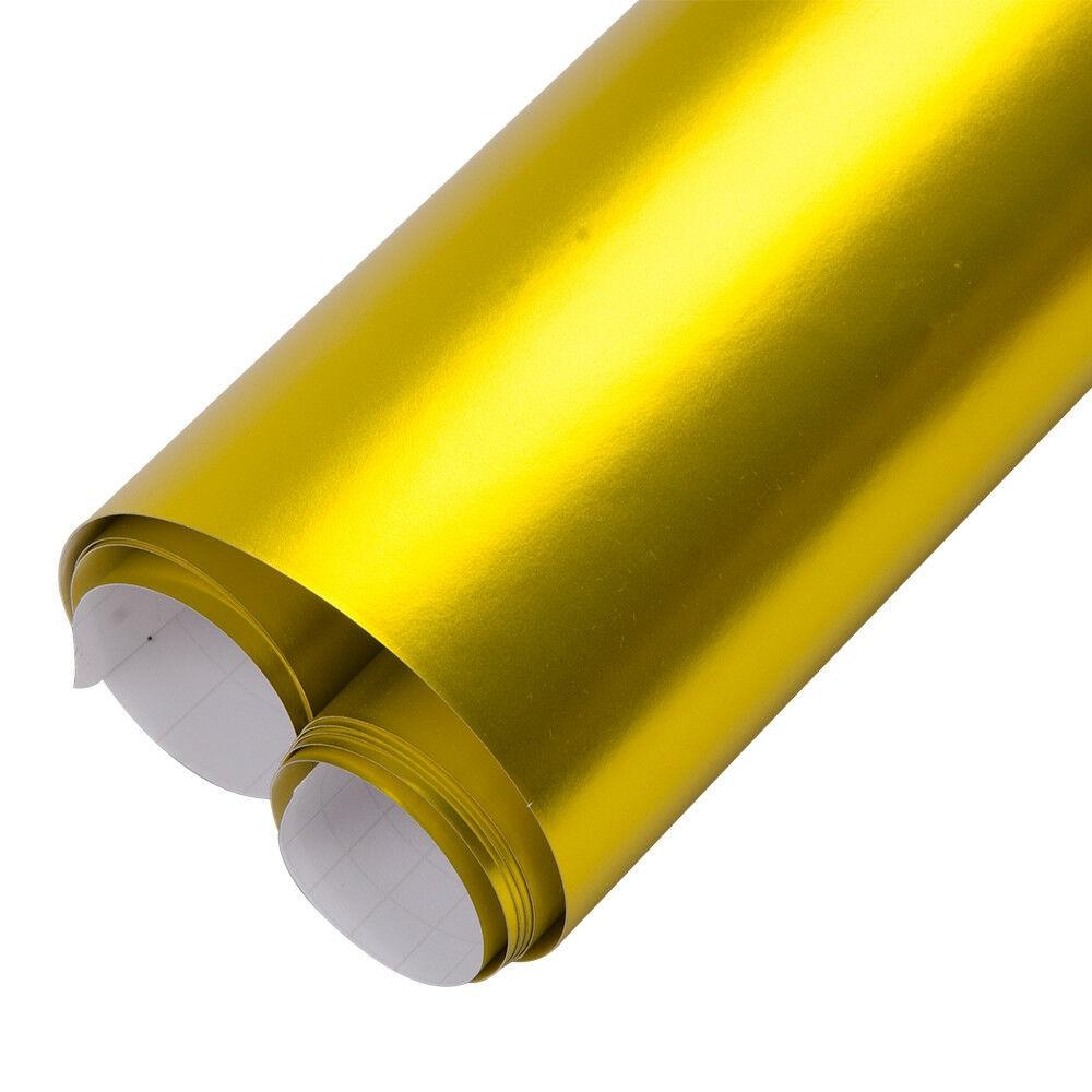152 см x 1000 Золото Творческий атласная матовая хромированная виниловая упаковка выпуска воздуха класс плёнки обёрточная бумага Стикеры прос